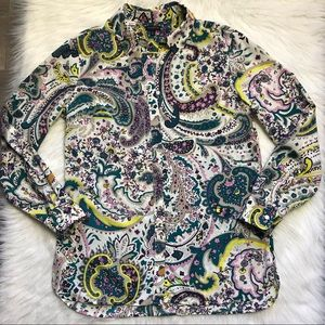 🌷Talbots paisley printed button up top size med